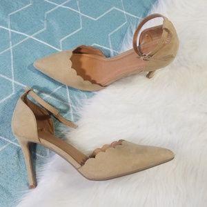 NY&CO Nude Scalloped Heels